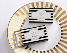These black and white striped matchboxes are the perfect match for a classic wedding!