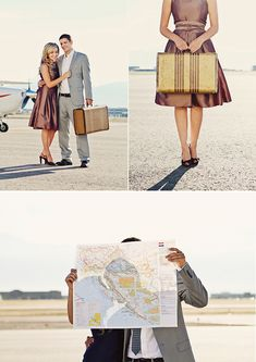Travel themed engagement photos - love the bottom picture - not sure how easy it would be to set up though