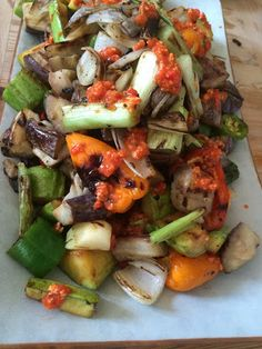 Grilled summer veggies with romesco sauce for meatless monday