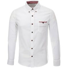 FLATSEVEN Mens Slim Fit Stretch Oxford Long Sleeve Casual Shirt Cotton found on Polyvore