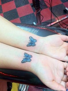these are my butterfly tattoos. i got them on may 24th, 2012, after being 1 year self harm free. i got them done at ink world in couer d'alene, idaho, by enzo :-)