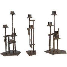 Midcentury Set of Three Paul Evans, Welded Steel Brutalist Candlesticks