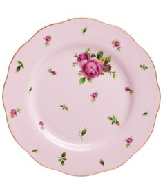 "Afternoon Tea is always best served using pretty Royal Doulton china. And always proper clotted cream!     ""New Country Roses Pink Vintage Salad Plate, Royal Albert. Shop more from the Royal Albert collection at Liberty.co.uk"""