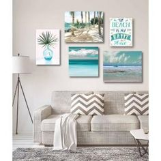 Beautiful gallery wall collection wrapped canvas set. Multiple piece canvas art that is a great indoor display for any room or office. Mounting hardware and stretcher bars are included. Ready to Hang