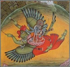 In Hindu mythology, Garuda was a creature with a human body and an eagle's head, wings, and talons. This Indian miniature painting portrays Garuda with the god Vishnu and his wife on his back.