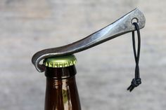Small Rustic Hand Forged Key Chain Bottle Opener, Blacksmith Made.