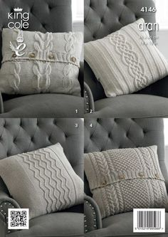 Knitting Patterns Pillow Cushions Knitted with Big Value Recycled Cotton Aran - King Cole Knitted Cushion Pattern, Knitted Cushion Covers, Knitted Cushions, Knitted Blankets, Sweater Pillow, Crochet Pillow, Aran Knitting Patterns, Hand Knitting, Crochet Patterns