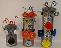 Robots from tin cans and magnets---hmmm maybe for pre school.