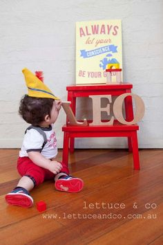 Pinocchio First Birthday - featured on Spaceships and Laser Beams. Adorable!