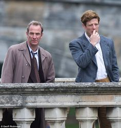 Dream team: The handsome duo, who play Detective Inspector Geordie Keating and Reverend Sidney Chambers respectively, were enjoying a coffee on the picturesque Clare College Bridge at the time