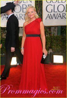 Amy Poehler One shoulder Red Carpet Evening Dress 2010 Golden Globe Awards