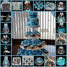 Blue And Brown Baby Shower Decorations