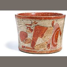 72  Maya Polychrome Cylinder Vase, El Peten,  Late Classic, ca. A.D. 550 - 950  diameter 6 1/8in (15.5cm)   painted with two kneeling gods wearing elaborate clothing and headdresses, one with a speech bubble with parrot, the other with cacao fruit; painted overall in reddish-brown, cream, orange and pink.