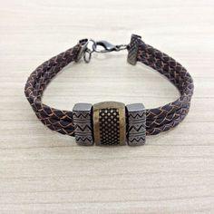 Pulseira Masculina Couro Trançado Legitimo Entremeio Tribal mens bracelets moda fashion leather homem style pulseirismo cocar brasil