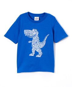 This Royal Blue & Tan Smiling T-Rex Tee - Kids by Born To Win is perfect…