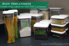 Create @MyVinylDirect .com .com .com Vinyl Labels using @Cricut®®® for @OXO POP Containers from SewWoodsy.com