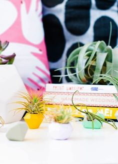 Save this home decor DIY project to make a set of concrete mini gem planters.