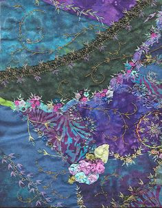 I ❤ crazy quilting & ribbon embroidery . . . Coeur Volant, details- 40 x 50 cm. Created 2004- Crazy quilt embellished with traditional assembly & personal way. Hand dyed fabrics & batiks. Thread embroidery & ribbons, braids, beads, ribbon shaped flowers, sequins, charms. ~By Carol Lenthall, Dream Stitcher