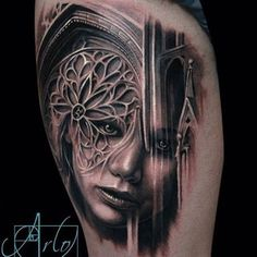 Jaw-Dropping Face Morph Tattoos By Arlo DiCristina - KickAss Things State Tattoos, 3d Tattoos, Girl Tattoos, Sleeve Tattoos, Wicked Tattoos, Tatoos, Arlo Tattoo, Raven Tattoo, Cathedral Tattoo