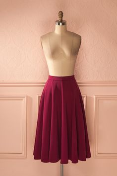 Jupe circulaire bourgogne à taille haute - High waisted burgundy circle skirt