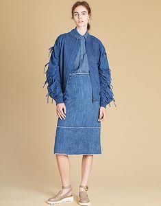 LE CIEL BLEU デニムリボンMA-1/デニムタイトミディスカート/シャンブレーデニムリボンシャツ