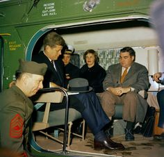 JFK aboard a helicopter on February 11, 1961. Also seen in this photograph are Press Secretary Pierre Salinger and his wife, Nancy, along with Naval Aide Tazewell Shepard.