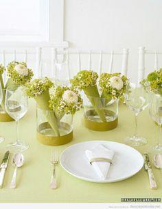 Decoración moderna, actual en tonos verdes para mesas boda