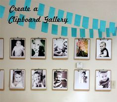 Great idea.  She also thought of using wood pant hangers.  This would fill a lot of wall space and also allow you to switch out photos year round.  The painted clip board would look cute, or cover it with chalk board and write captions!  love!