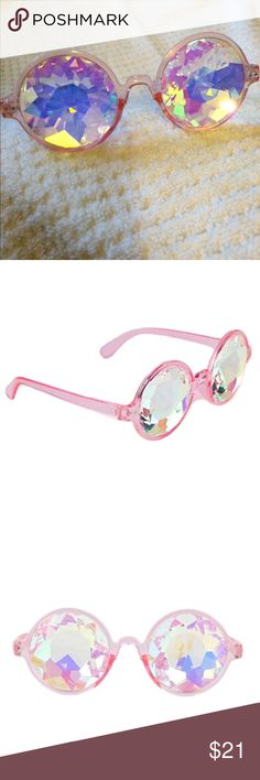 5b0706dbfa52d Pink kaleidoscope festival glasses! Super cute trippy pink framed glasses  with kaleidoscope lenses! Perfect