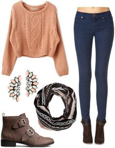 Knit sweater, jeans, booties, fair isle scarf