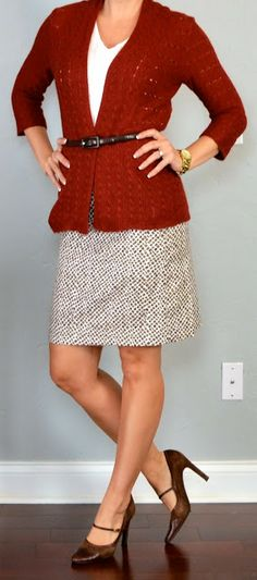 outfit posts: rust knit cardigan, white cami, printed pencil skirt | Outfit Posts Dynamic