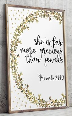 Bible verse Proverbs 31:10 nursery wall art by TwoBrushesDesigns