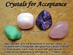 Acceptance Top Recommended Crystals: Chrysoprase, Mangano Pink Calcite, Charoite, or Rose Quartz. Crystal Uses, Crystal Healing Stones, Crystal Magic, Quartz Crystal, Crystals And Gemstones, Stones And Crystals, Gem Stones, Healing Gemstones, Chakra Healing