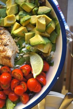 California chicken salad recipe with avocado, cilantro and lime
