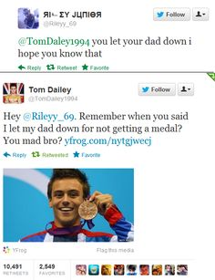THIS. Tom Daley got sass :)