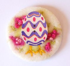 Needle felted brooch Easter Egg Surprise wool pin  by iwantcraft