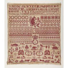 Bristol Orphange sampler, Cooper Hewitt Museum. Love red and white samplers.