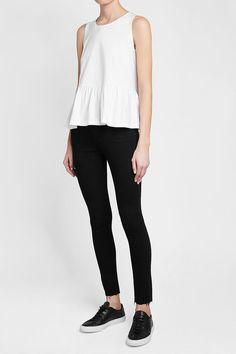 Steffen Schraut Cotton Top with Peplum White Style, Peplum, Black Jeans, Cotton, Pants, Shopping, Tops, Women, Fashion