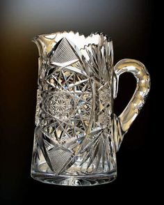 Antique American Brilliant Cut Glass Wine Jug or sometimes called a Tankard