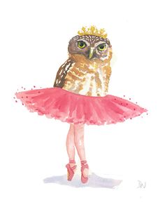 Owl Watercolour Original Painting - Ballet Owl, Tutu, Ballet Art, 8x10. via Etsy.