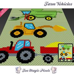 Farm Vehicles is a graph pattern that can be used to crochet a blanket using C2C (Corner to Corner), TSS (Tunisian Simple Stitch) and other techniques. Alternatively, you can use this graph for knitting, cross stitching and other crafts. This graph design is 80 squares wide by 100 squares high. It requires 10 colors for the vehicles and 1 for the background. Pattern PDF includes: - color illustration for reference - color square pattern Image only, no written counts. This listing is fo...