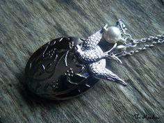 The Hunger Games Peeta Locket plus FREE Mockingjay Earrings LAST ONE | TheMeadow - Jewelry on ArtFire  silver, bird, swallow, divergent, YA, swarovski, pearl, accessory, book inspired, teen, girl, necklace, locket