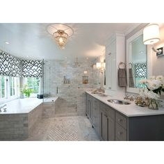 bathrooms - Zimba Charcoal Fabric custom roman shades drop-in tub... ❤ liked on Polyvore