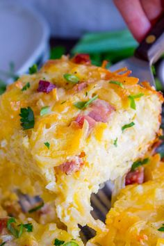 Cheesy Overnight Hashbrown Breakfast Casserole Cheesy Overnight Hasbrown Breakfast Casserole - Hashbrowns are baked til crispy, then topped with eggs, cheese, and black forest ham. Overnight Hashbrown Breakfast Casserole, Christmas Breakfast Casserole, Breakfast Bake, Morning Breakfast, Hashbrown And Egg Casserole, Egg Bake With Hashbrowns, Frozen Hashbrowns, Frozen Breakfast, Cheesy Hashbrowns