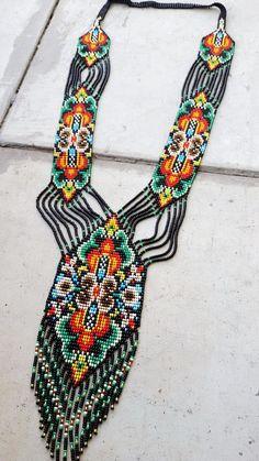 Items similar to bead necklace gerdan fringe necklace necklace seed bead, bead loom necklace, Long necklace, native american style on Etsy Fringe Necklace, Seed Bead Necklace, Seed Bead Bracelets, Beaded Earrings, Seed Beads, Beaded Jewelry, Jewelry Necklaces, Seed Bead Patterns, Beaded Bracelet Patterns