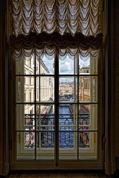 View from Winter Palace onto canal. Note the double paned windows, a real necessity in Russian winters. St Petersburg, Russia