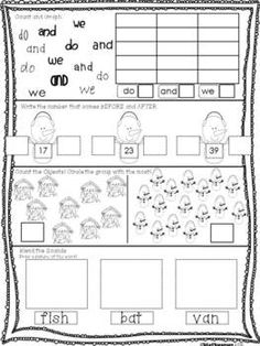 Daily Math and Literacy Winter {December and January} FREEBIE 5 day sample pages! Dreambigkinders.blogspot.com