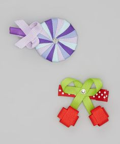 Take a look at this Red Cherry & Blue Candy Clip Set by Picki Nicki Hair Bowtique on #zulily today!