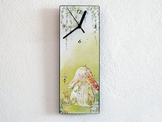 Fairy mushroom house - Wall Clock. ❂ 3mm thick black mat acrylic face with high quality printed vinyl on it ❂ My clock mechanisms are EZ Quartz® Sweep (Non Ticking - Silent) and RoHS Approved! ❂ Requires 1 AA battery (not included).