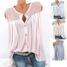 2519123826d Casual Hollow Out Sleeveless Button Blouse for Women can cover your body  well